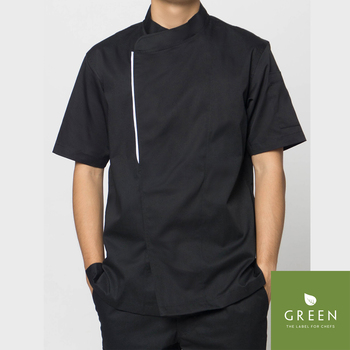 [WHOLESALE] Basil Black Chef Jacket Short Sleeve, Chef Coat, Restaurant and Hotel Uniform