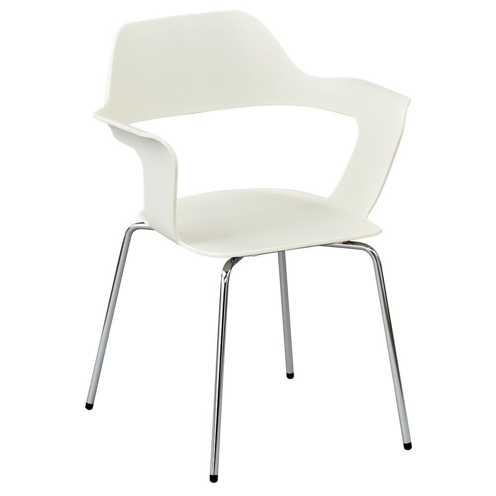 """Set of 4 Retro Stack Chair White Plastic Shell/Chrome Legs Dimensions: 23.4""""W x 21.84""""D x 30.81""""H Seat Dimensions: 16""""Wx16""""Dx17.5""""H"""