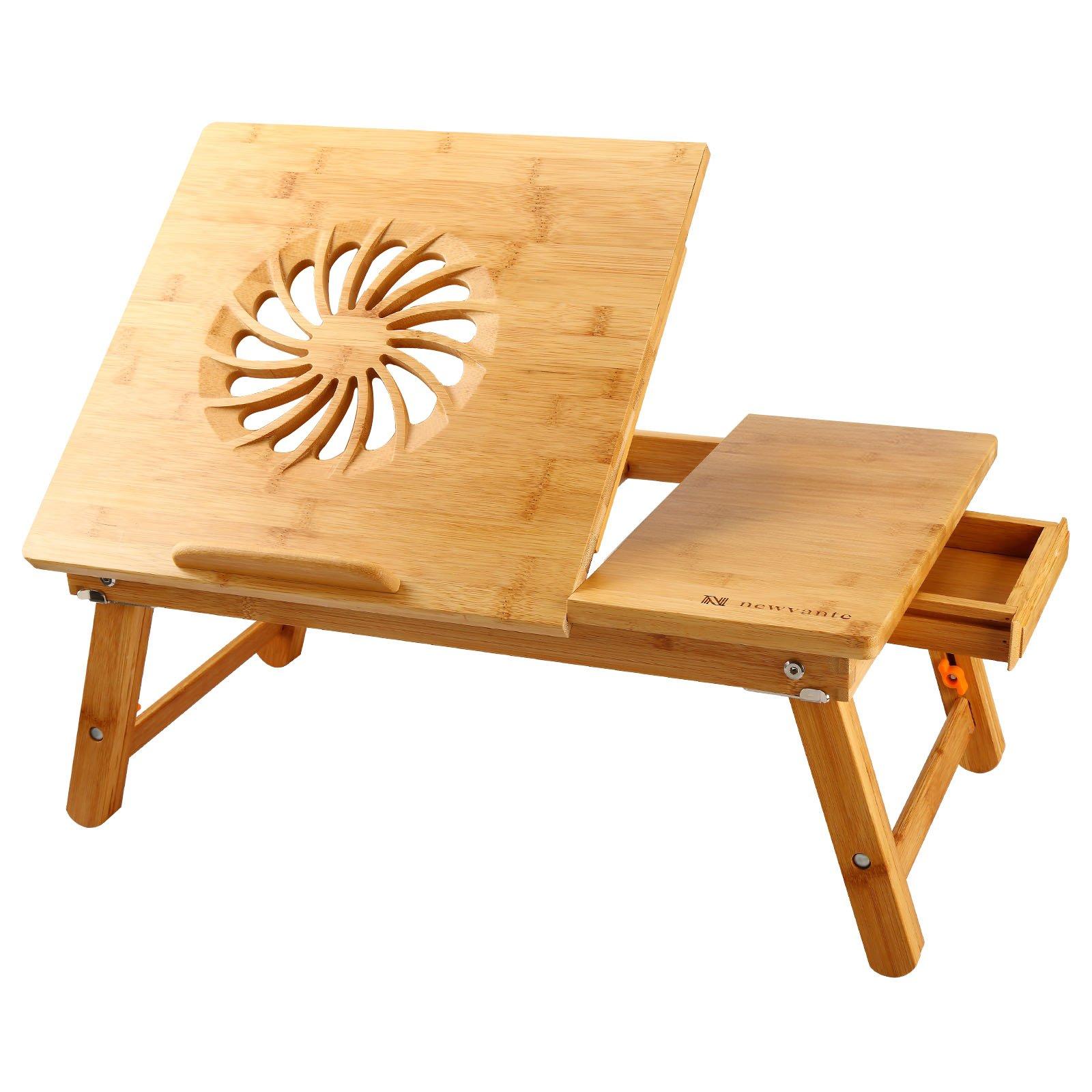 Laptop Desk Nnewvante Adjustable Laptop Desk Table Bamboo Foldable Breakfast Serving Bed Tray w' Drawer