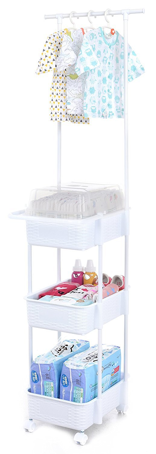 Tenby Living Diaper Caddy & Nursery Organizer with Clothes Rack & Hangers, Pink