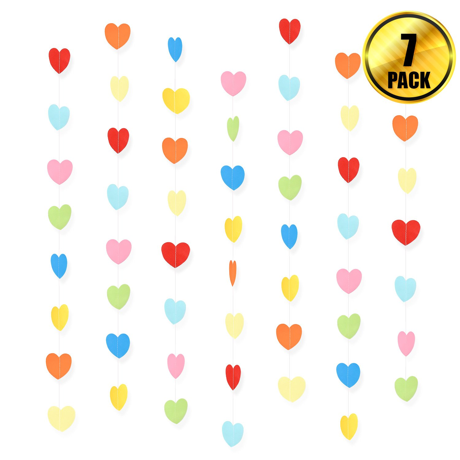 WXJ13 7 Pack Rainbow Color Birthday Paper Heart Decorations Heart Shape Garland Decorations, 41.3 Feet/13.7 Yards, Valentine's Day Wedding Party Decoration Supplies