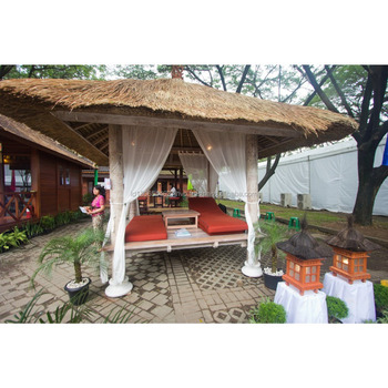 Best Selling Product Luxury Cabana Prefab Wooden Gazebo Folding Table and Loungers for Leisure