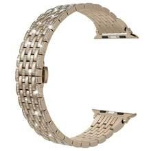 Ремешок для часов Apple Watch, блестящий, со стразами, из нержавеющей стали(Китай)