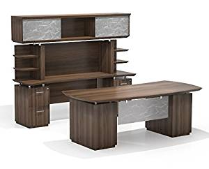 "Mayline Executive Office Suite Desk: 72""W X 36""D X 29.5""H Credenza: 72""D X 24""D X 71""H Hand-Crafted 1 5/8"" Thick Surface W/Knife Edge Detail - Textured Brown Sugar"