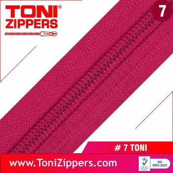 7 Toni Long Chain Nylon Zippers For Garments And Bags With Smooth Running Durable Feature