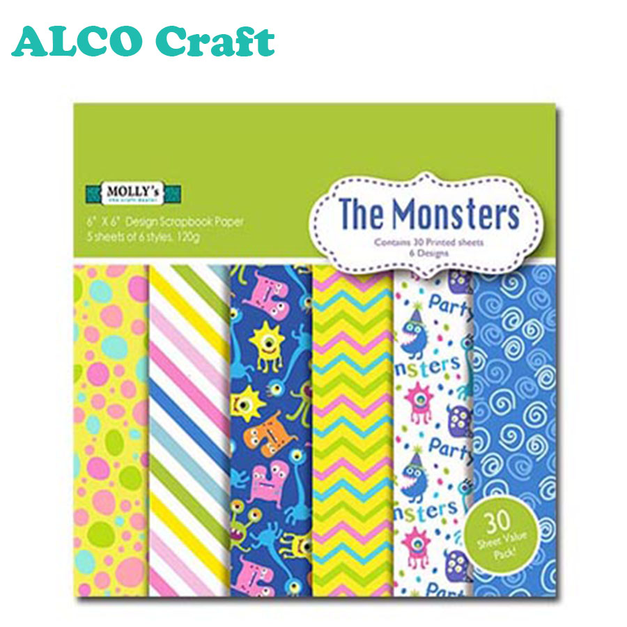 Di alta qualità 6x6 colorful monsters mestiere di carta per scrapbooking abbellimenti