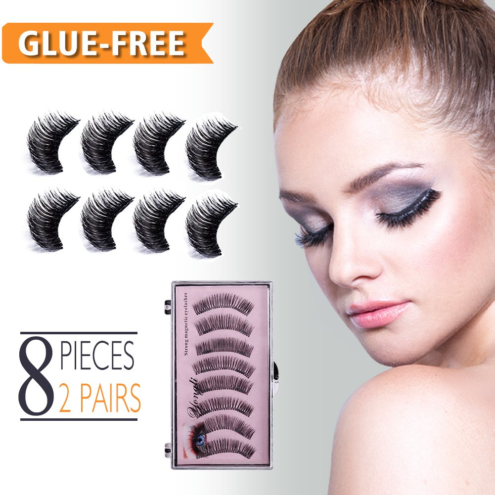250748c9059 Get Quotations · Magnetic False Eyelashes No Glue Fake Eyelashes Extensions  3D Reusable Natural Look, 8 Pieces Mink