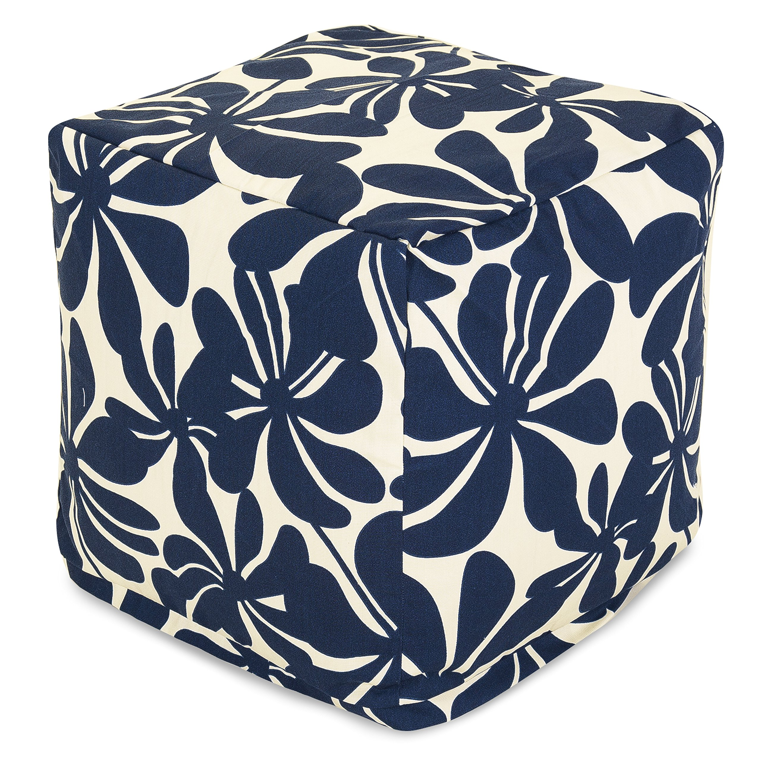 Get Quotations Majestic Home Goods Navy Blue Plantation Indoor Outdoor Bean Bag Ottoman Pouf Cube 17