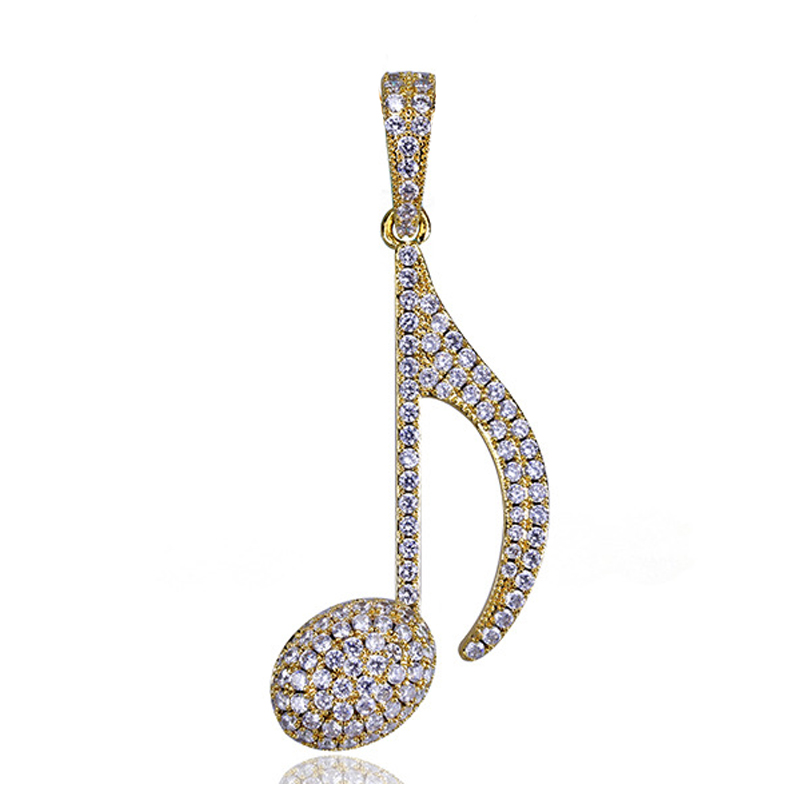 HipHop Men14K Vergulde Iced Out CZ Gesimuleerde Diamond Zirkoon Quavers Music Note Hanger