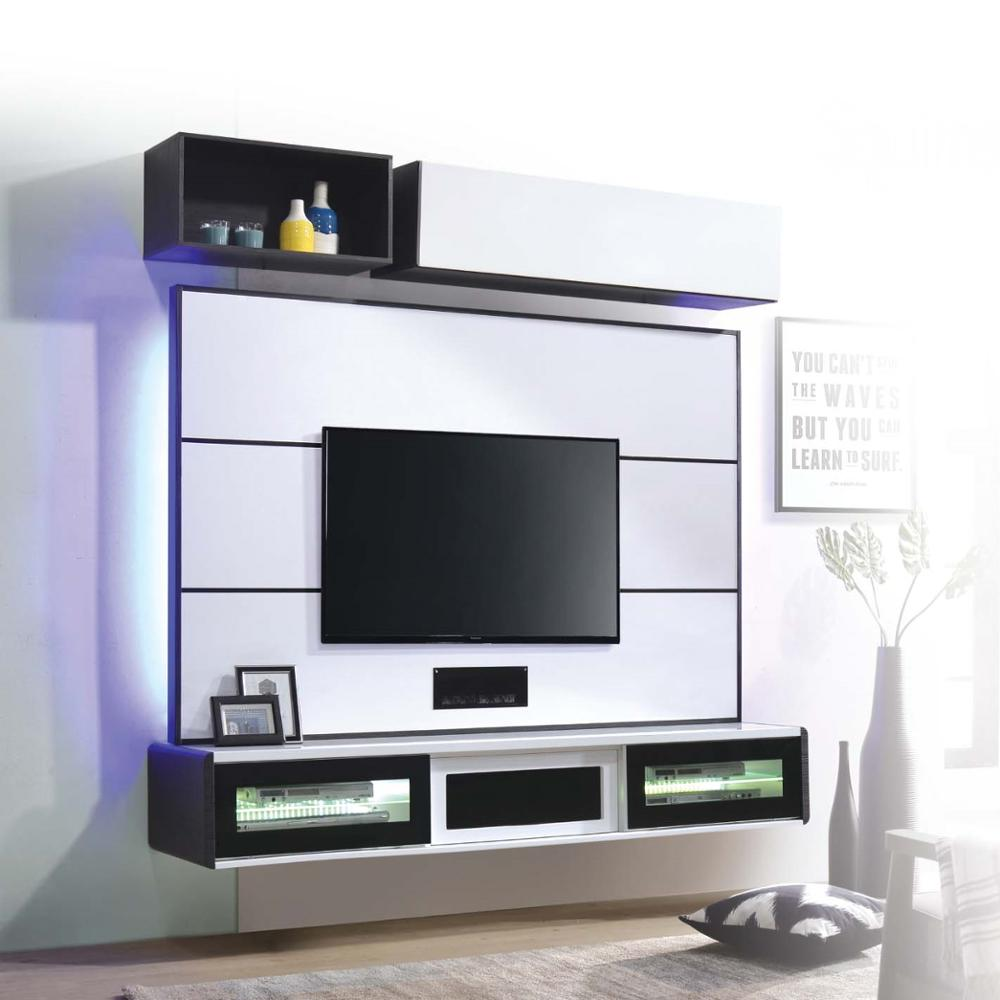 Modular Wall Mounted Black White Tv Entertainment Home Consoles Cabinet Floating Living Room