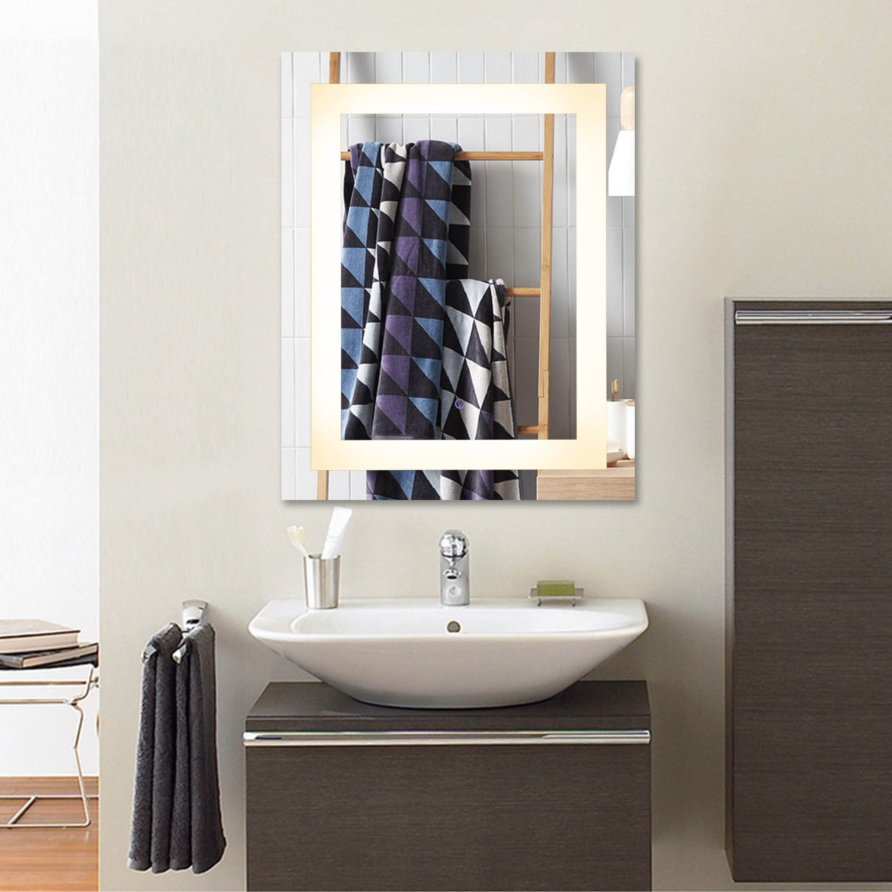 buy co-z modern led bathroom mirror, dimmable rectangle
