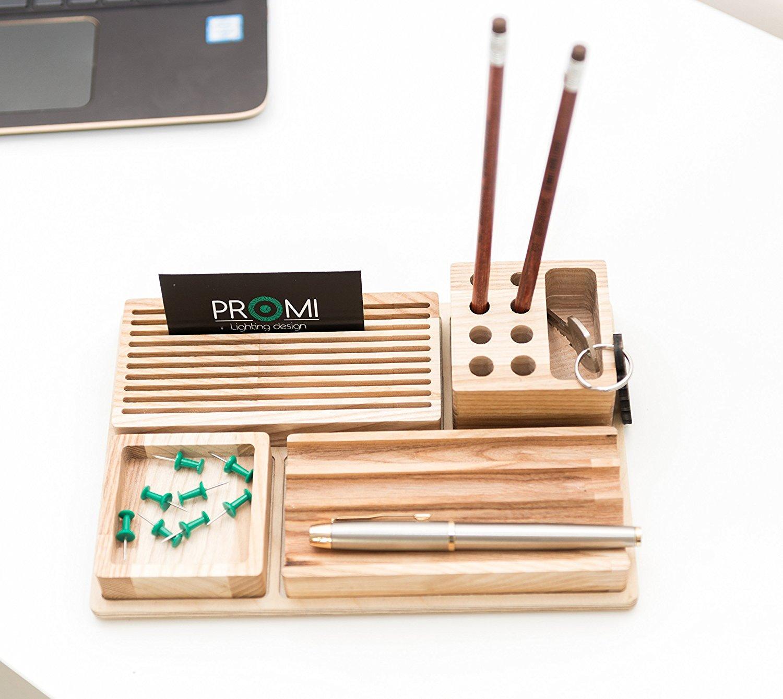 Wooden Desk Organizer - Big Table Organizer - Wooden Office Organizer - Pen Pencils Desk Box - Compact Desk Storage - Father Day Gift