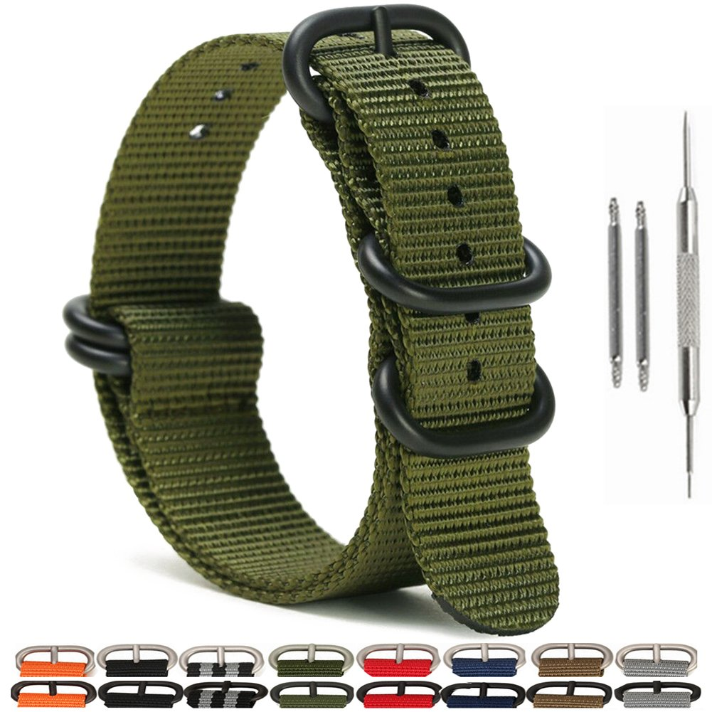4ada146a94a Get Quotations · SIMCOLOR 1.5mm Zulu Nylon Watch Bands