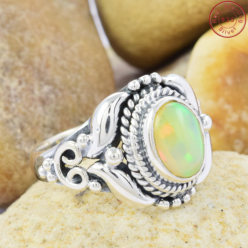 Wholesale Price 925 Sterling Silver Jewelry Opal Ring Handmade Silver Ring Jewelry Online Silver Ring Jewelry