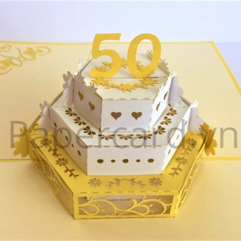 Birthday Cake 50th 3d Pop Up Card