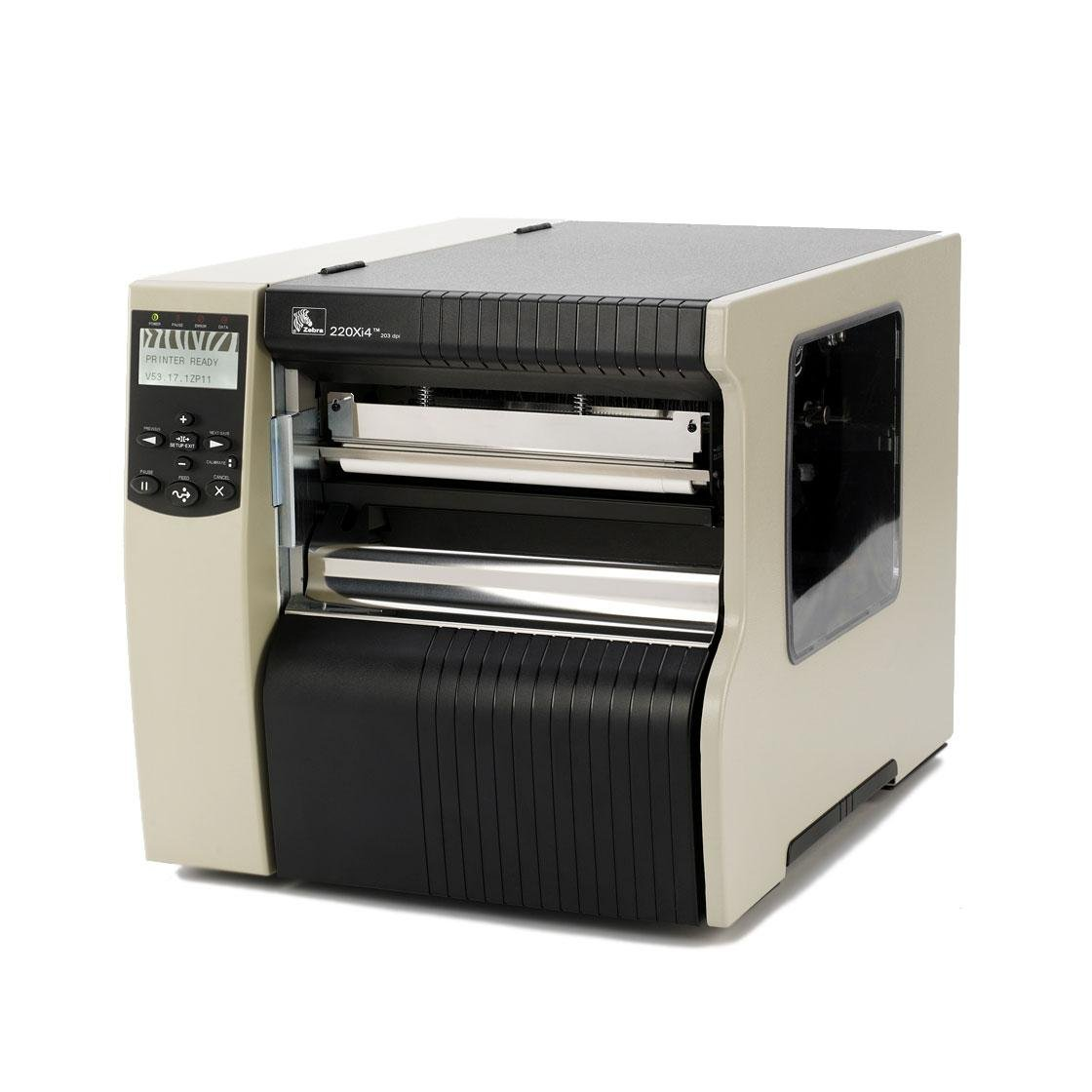 "Zebra Technologies 223-801-00200 Series 220XI4 8"" DT/TT Tabletop Printer, 300 dpi Resolution, RS-232 Serial/Parallel/USB 2.0/Internal Zebra Net 10/100, 16 MB with ZPL II/XML, Rewind with Peel"