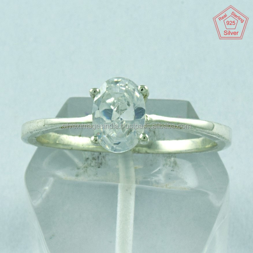 Simple Delight !! Cubic Zirconia 925 Sterling Silver Ring, Jewelry For All Occasions, Wholesale Gemstone Rings
