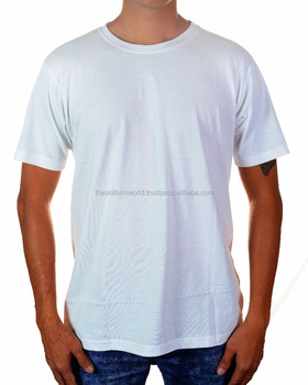 d8dcceeecd7 100% Coton Col Rond T Shirt Plaine Blanc Blanc Unisexe