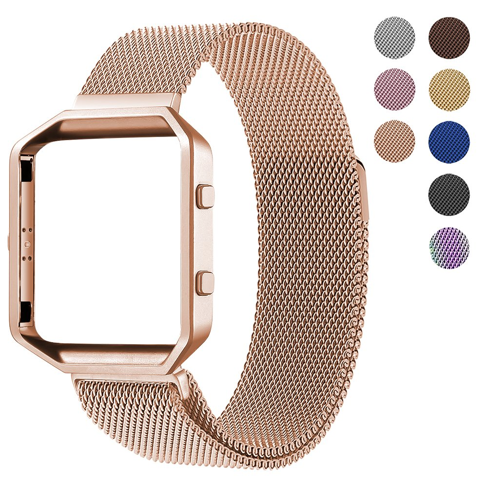 For Fitbit Blaze Accessory Band,Large(6.3-9.1 in),Oitom Frame Housing+Milanese loop stainless steel Bracelet Strap for Fitbit Blaze Smart Fitness Watch (Rose Gold Frame+Loop)