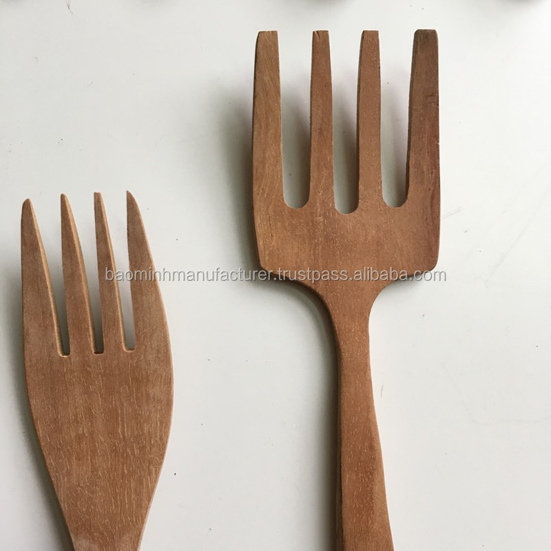 Handmade Large Teak Wood Salad Server Set 2 Piece Wooden Fair