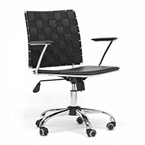 """Modern Office Chair in Black, Chair with Knitted Design, Adjustable, Office Furniture, Home Desk Chair, Metal Desk Chair, Leather Chair, Executive Chair, Bundle with Expert Guide """"Quality in Our Life"""""""