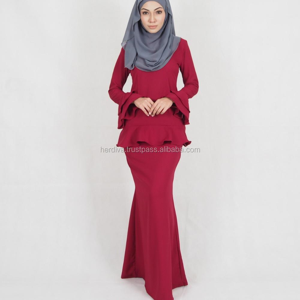 muslimah baju kurung melayu 2018 latest casual design new style Islamic  abaya clothing long sleeve one piece top skirt XXS-15XL 492ba699f0