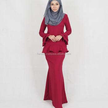 muslimah baju kurung melayu 2018 latest casual design new style Islamic  abaya clothing long sleeve one cafa7d6f28