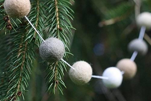 """""""Creamy Dreamy Christmas"""" Handmade Wool Felt Ball Garland by Sheep Farm Felt, Neutral Colored Pom Pom Garland- White, Cream, Beige, Gray. 2.5 cm balls."""
