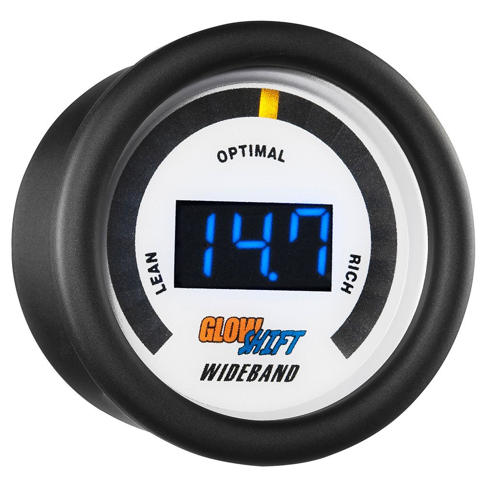 GlowShift White 7 Series Digital Wideband Air/Fuel Ratio Gauge with Oxygen Sensor & Data Logging Controller