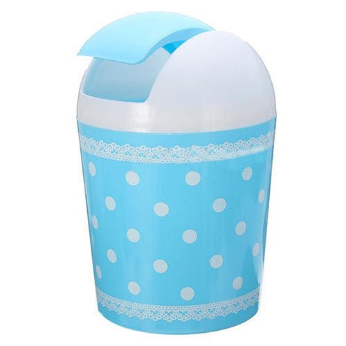 SODIAL(R) Plastic Mini Trash Basket Garbage Can Bin Desktop Wastebasket Workshop Exquisite color: blue