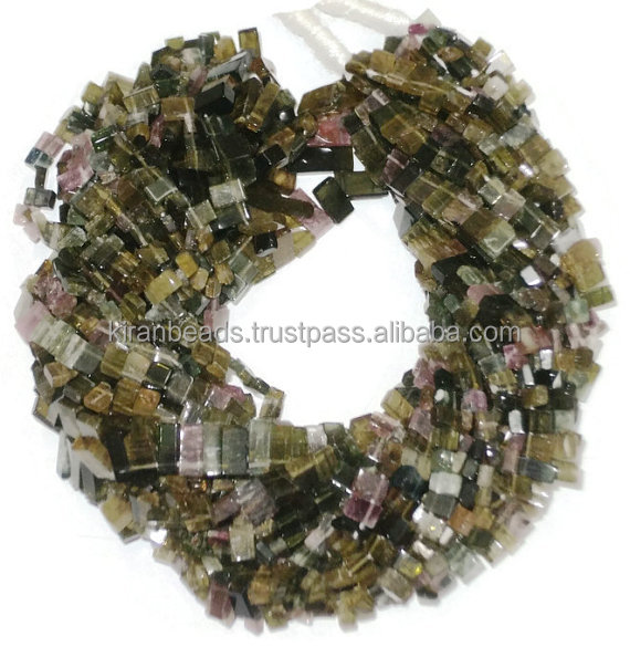 Watermelon Natural Multi Tourmaline Gemstone Smooth Rectangle Rondelle Beads - Beads About Free Size - 14 Inch Long Strand