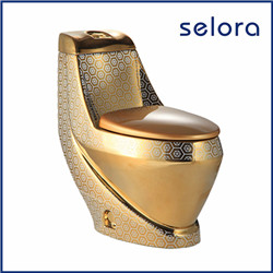 egg shape sanitaryware luxury two piece gold color toilet for sale