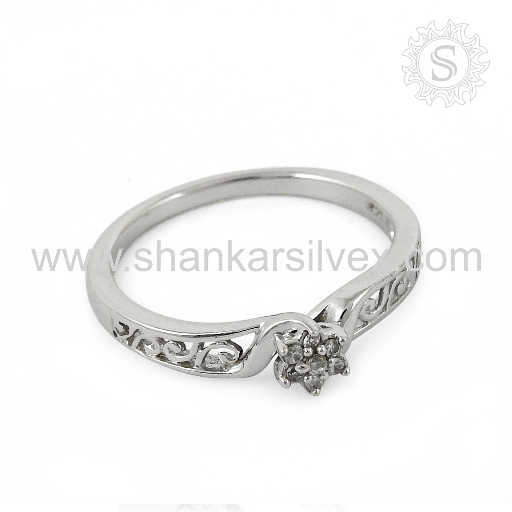 Beautiful engagement silver ring 925 sterling white cz gemstone silver rings jewelry handmade india
