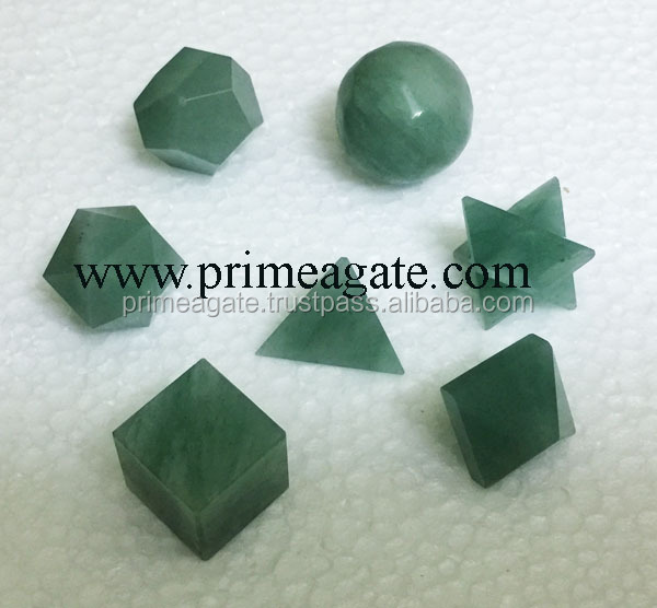Green Aventurine AA 7pcs Sacred Geometry Set For Sale | Khambhat Agate Export | INDIA