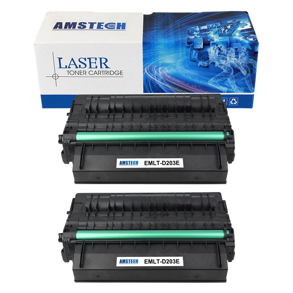 2 Pack,10000 High Yield Page Amstech Compatible Samsung MLT-D203E MLT D203E MLT-D203L MLT-D203S Black Toner Cartridge Replacement For Samsung ProXpress SL-M3820DW, M4020ND, M3870FW, M4070FR Printer