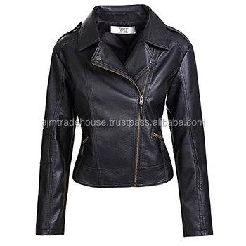 Custom Lady Black Tight Leather Motorcycle Bomber Jacket Ladies