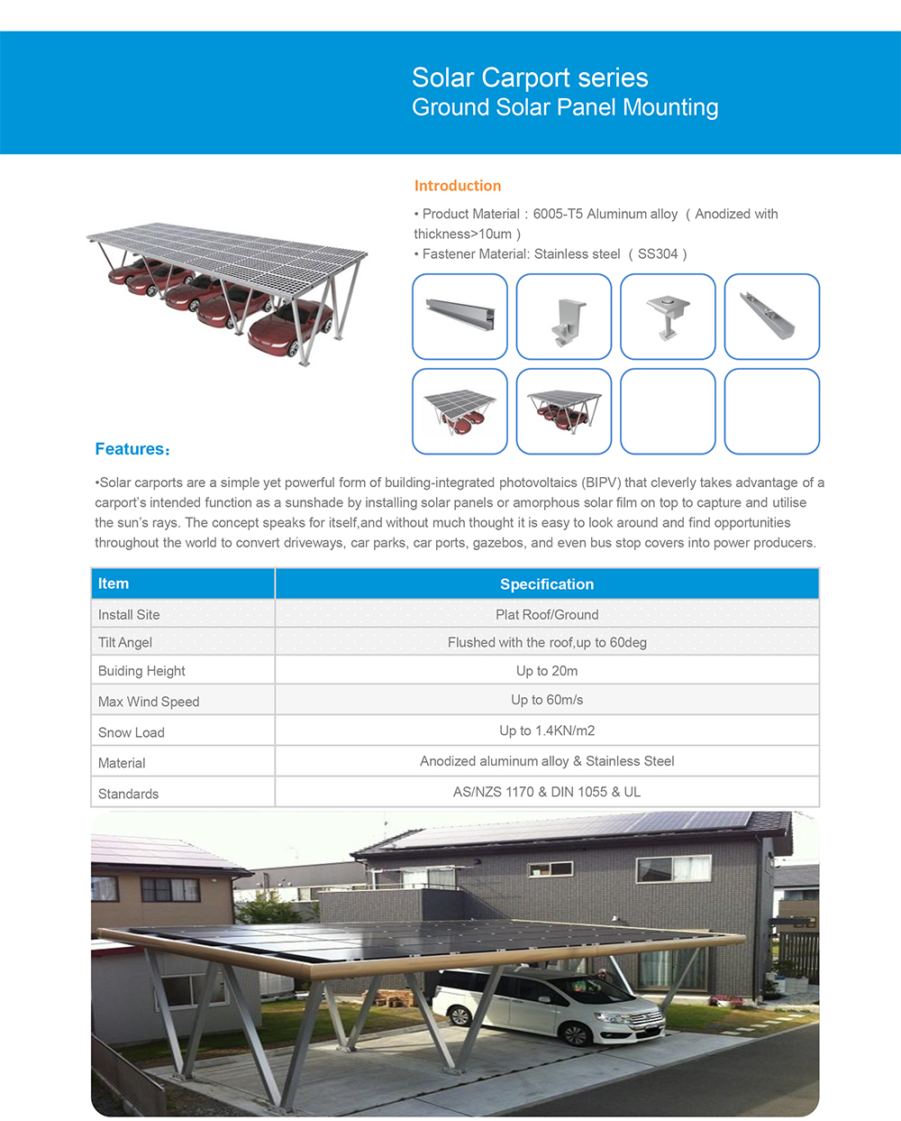 Smart Design Car Roof Bracket Install Carport Solar Panel For Power System