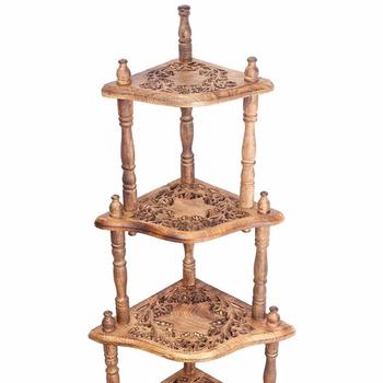 Decorative Wooden Corner Bakers Rack Shelf Side End Table Indoor Outdoor Furniture Multipurpose Display Stand Wood 4 Tier