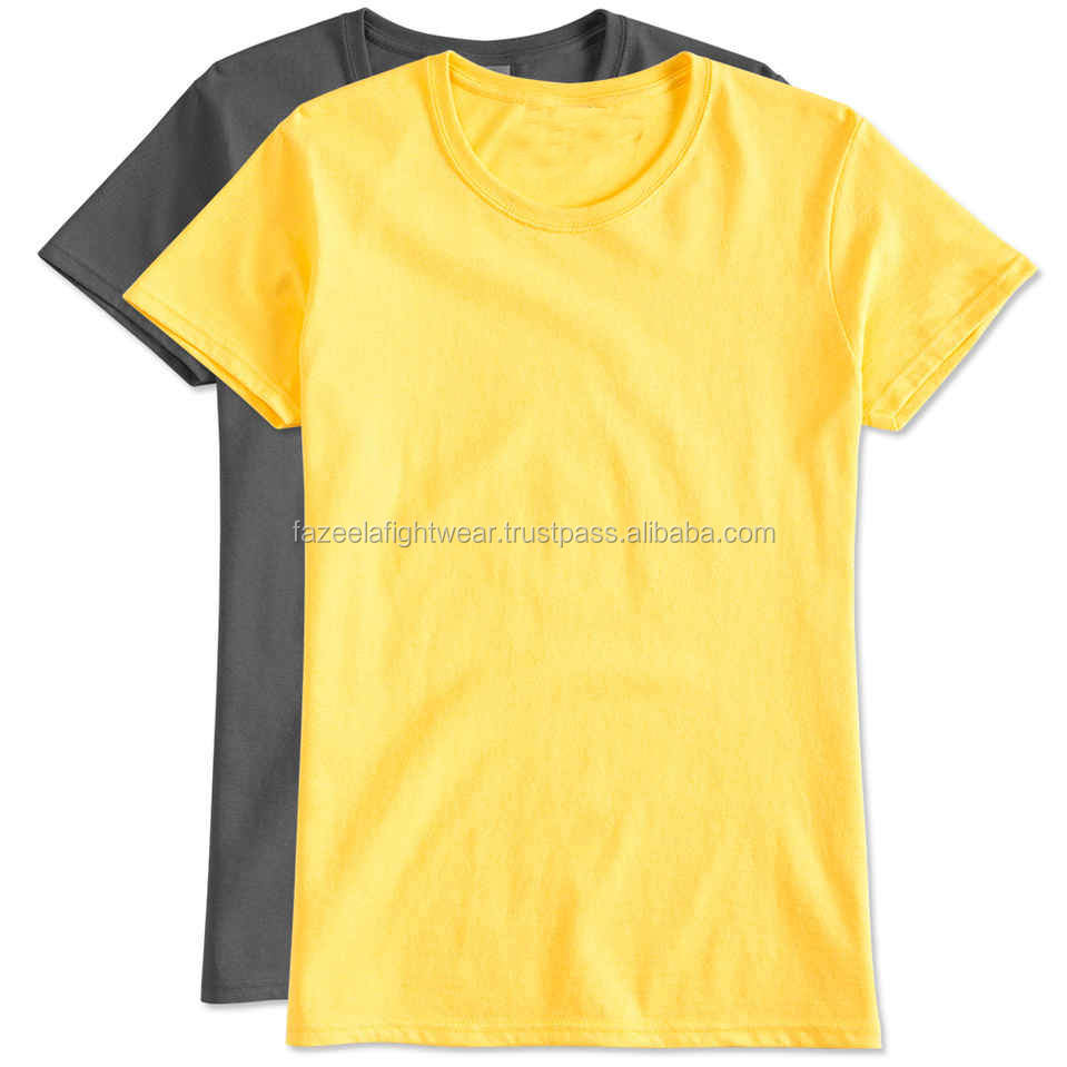 Custom Plain Two Tone Curved Hemnm Organic Cotton Tee Shirts Design