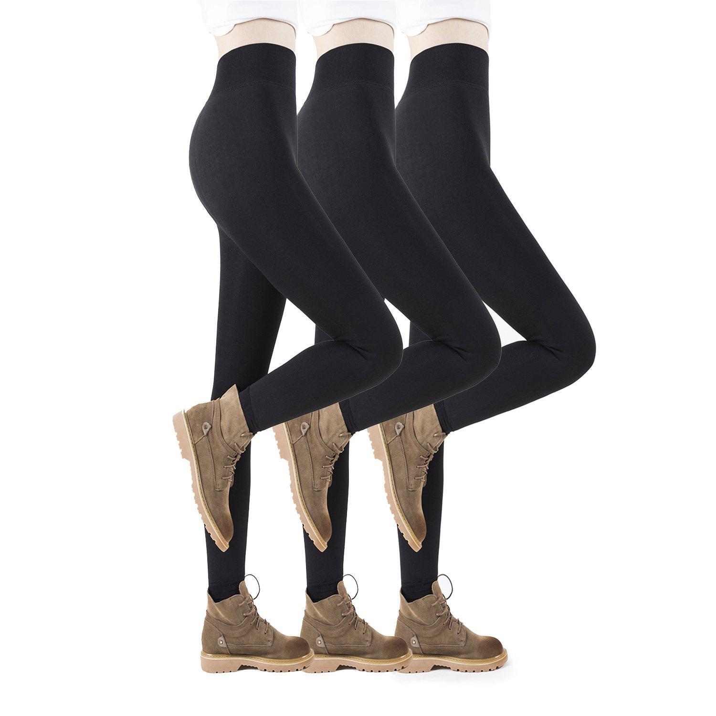 REDESS Fleece Lined Leggings For Women, 3 Pairs Winter Warm Velvet Leggings, High Waist -Elastic and Slimming Tights