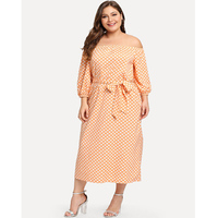 Factory Direct Orange Plus Size Indian Designer Fat Women Tie Waist Polka Dot Print Off-Shoulder Long Dress