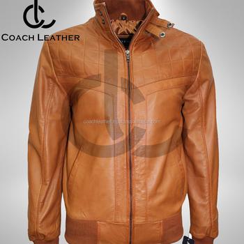 Light Brown Tan Designer Quilted Bomber Real Soft Leather Jacket