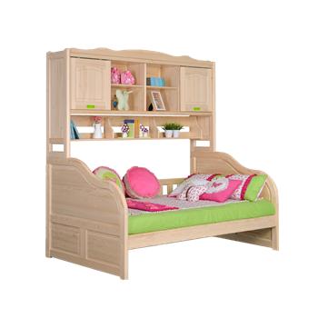 2018 Newest Design Hot Sales Solid Pine Wood Kids Bedroom Furniturechildren Functional Bed With Bookshelf