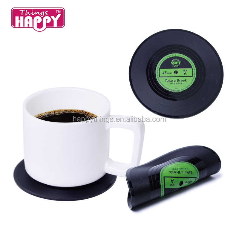 Lage MOQ Factory Direct Classic Retro CD records Siliconen Costers Cup Coaster