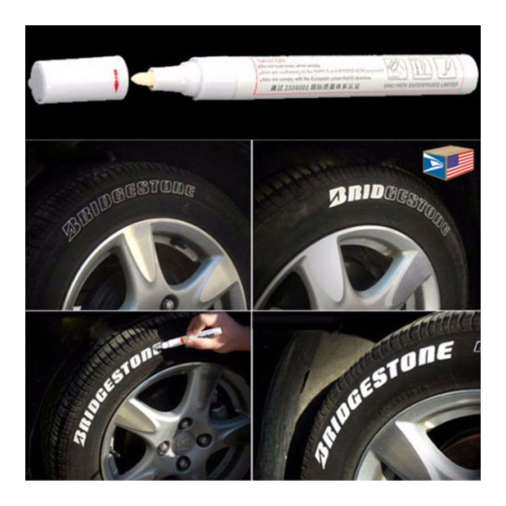 Tyre Marking Pen Paint Tyre Sidewall Writing in White Highlight