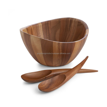 Wooden Salad Bowl With Server Wood