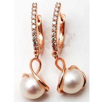 Pearl Dangling Designer Diamond Hoops 18 K Rose Gold Earrings Earring Product On Alibaba