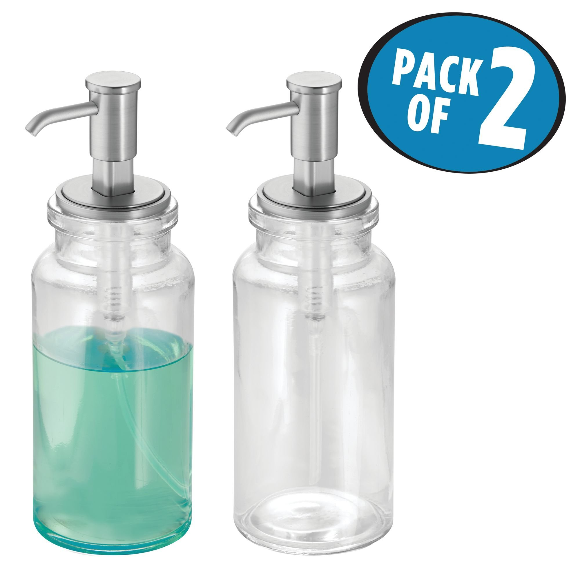 mDesign Liquid Hand Soap Glass Dispenser Pump Bottle for Kitchen, Bathroom | Also Can be Used for Hand Lotion & Essential Oils - Pack of 2, Clear/Brushed Nickel