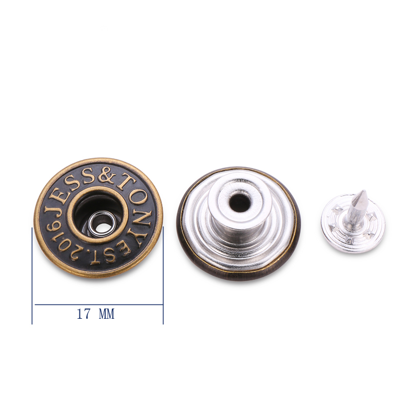 Custom brand logo brass metal button jeans rivets tack buttons