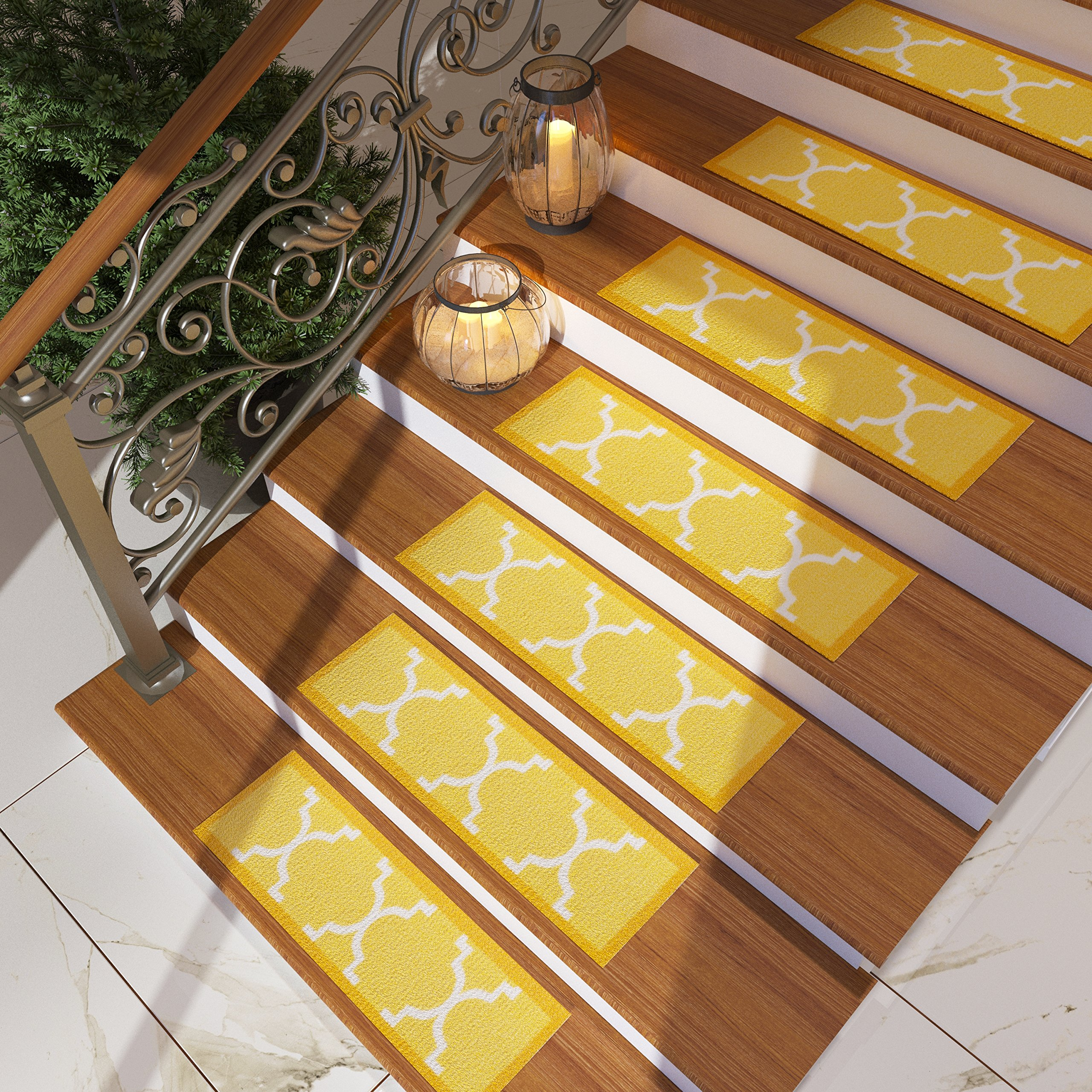 Get Quotations · [Set Of 7] Gold Yellow Stair Tread Rugs | Modern Design  Trellis Lattice Carpet